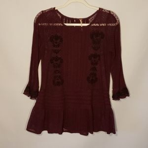 Free People Burgundy Lace Like Sheer Top Size XS